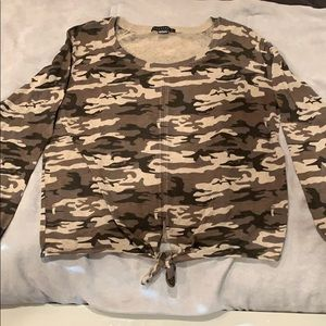 Camo knot front sweater top